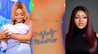 Regina Daniels Tattoos Her Baby's Name On Her Wrist