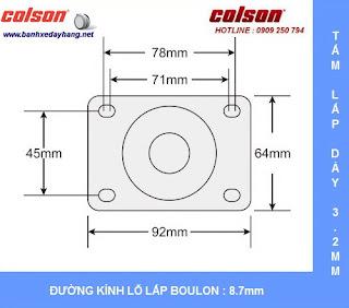 Kích thước Bánh xe cao su càng nhựa mặt đế Colson chịu lực 70 ~ 100kg sử dụng ổ bi