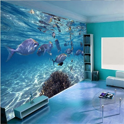 3D effect wallpaper with LED lights for living room walls