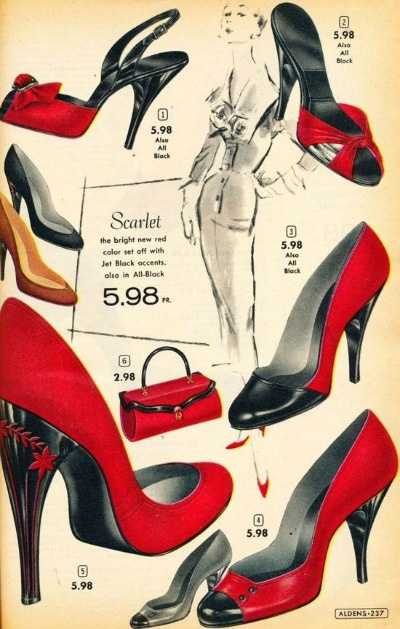 Red Shoes in Alden's Catalog 1956-1957 Scarlet Shoes Advertisement