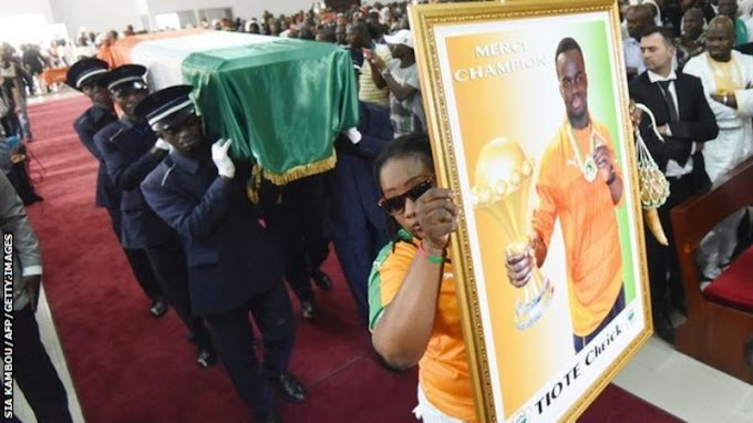 Photos: The funeral of Ivorian star Cheick Tiote is held in Abidjan attended by Kolo Toure and Ivory Coast squad