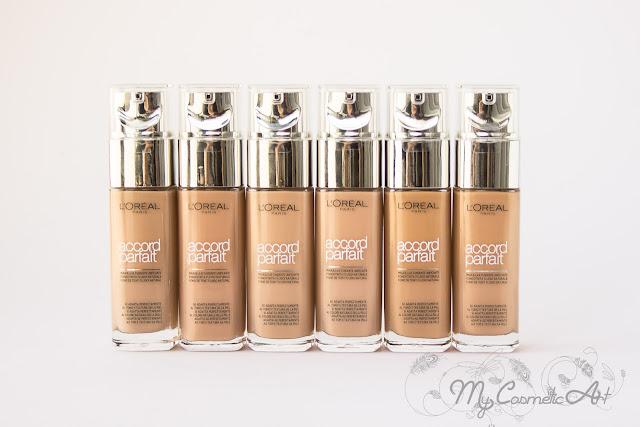 base de maquillaje Accord Parfait de L'Oreal Swatches 18 tonos