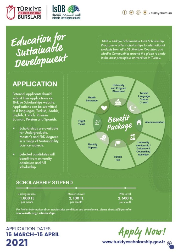 IsDB-Türkiye Scholarships for study Bachelor, Master, and PhD in Turkey