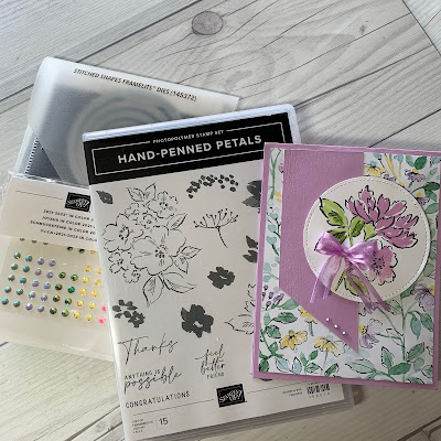 Floral handmade greeting card using Stampin' up! Hand-Penned Suite of stamps dies and designer series papers