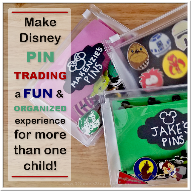 Organize Disney Parks trading pins for multiple children with these easy DIY pin pouches.  |  3 Garnets & 2 Sapphires