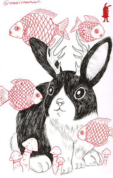 Part of a bunnylope series drawn by Marta Tesoro aka Rabbit Town Art
