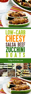 Low-Carb Cheesy Salsa Beef Zucchini Boats found on KalynsKitchen.com