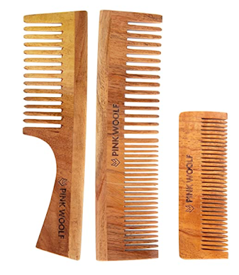 Pink Woolf Handmade Neem Wooden Combs Natural & Eco-Friendly Combs with Anti-Bacterial Properties