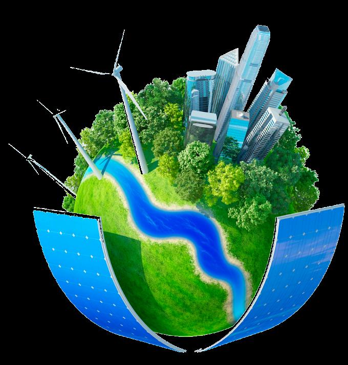 Edificios, aerogeneradores y paneles solares de tierra, impacto ambiental de la industria energética energía sostenible energías renovables, medio ambiente, fondo de pantalla de la computadora, hierba png by: pngkh.com