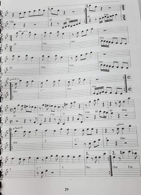 نوته موسيقية أغنية انا بعشقك ميادة الحناوي مع الكلمات تقديم الأستاذة فيريال طيفور