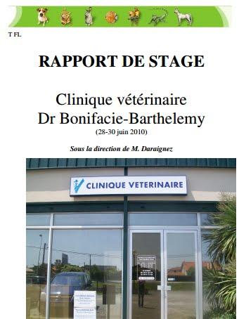 exemple de rapport de stage d'observation 3ème veterinaire