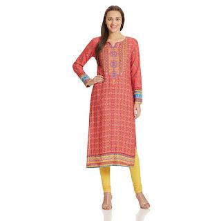 Cashback on Pink Rangriti Kurta by FashionDiya
