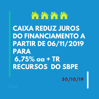 CAIXA REDUZ OS JUROS DO FINANCIAMENTO PELA SEGUNDA VEZ EM OUTUBRO DE 2019