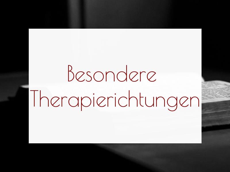 Dickes, aufgeschlagenes Buch, davor der Schriftzug Besondere Therapierichtungen