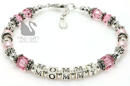 Swarovski Crystal Pearl Mommy Beaded Bracelet (B188)