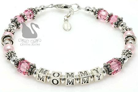 Swarovski Crystal Pearl Mommy Beaded Bracelet (B188)