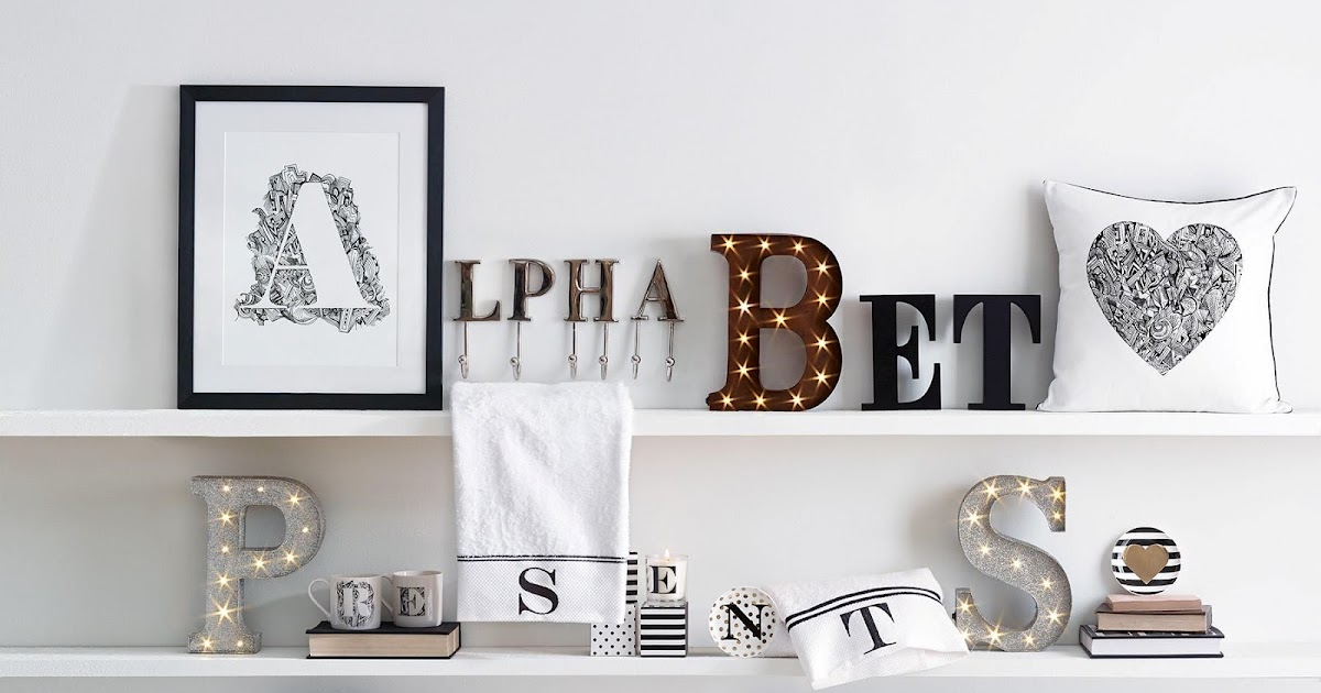 alphabet inspired home accessories from next home. Black Bedroom Furniture Sets. Home Design Ideas