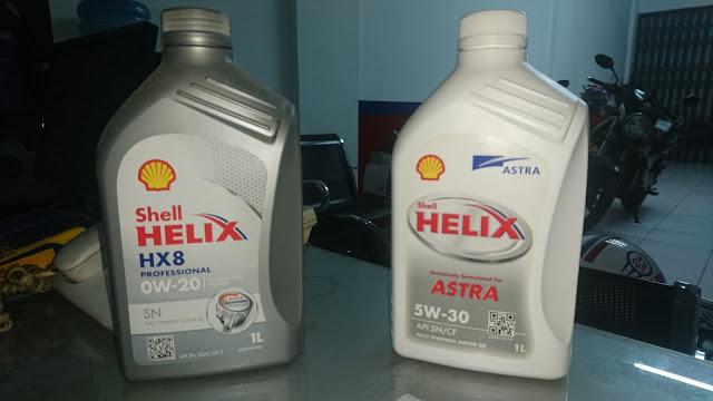 Oli Shell Helix Astra 5w30 VS Shell Helix HX8 Professional 0w20
