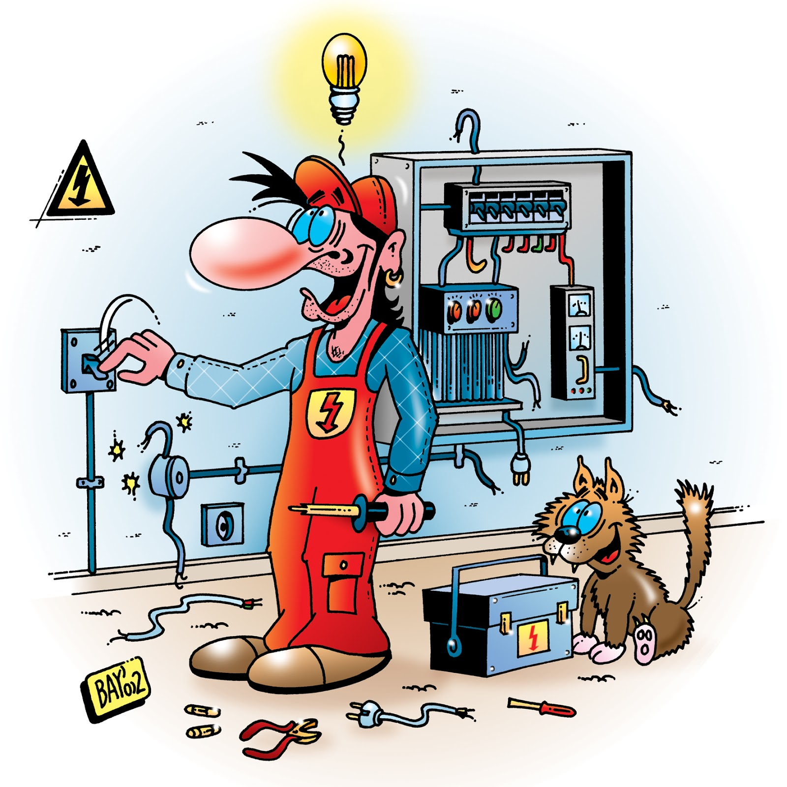 humor cliparts für elektriker