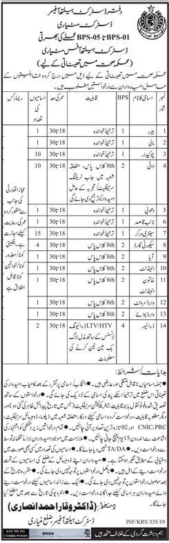 Jobs Vacancies In District Health Office Matiari Govt Of Sindh 27 January 2019