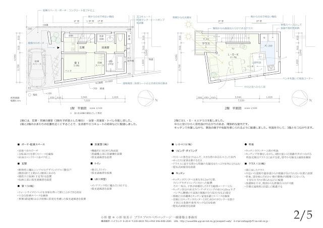 川の広がりを取込む立体的内部空間の三階建て狭小都市型住宅 平面計画 1階・2階