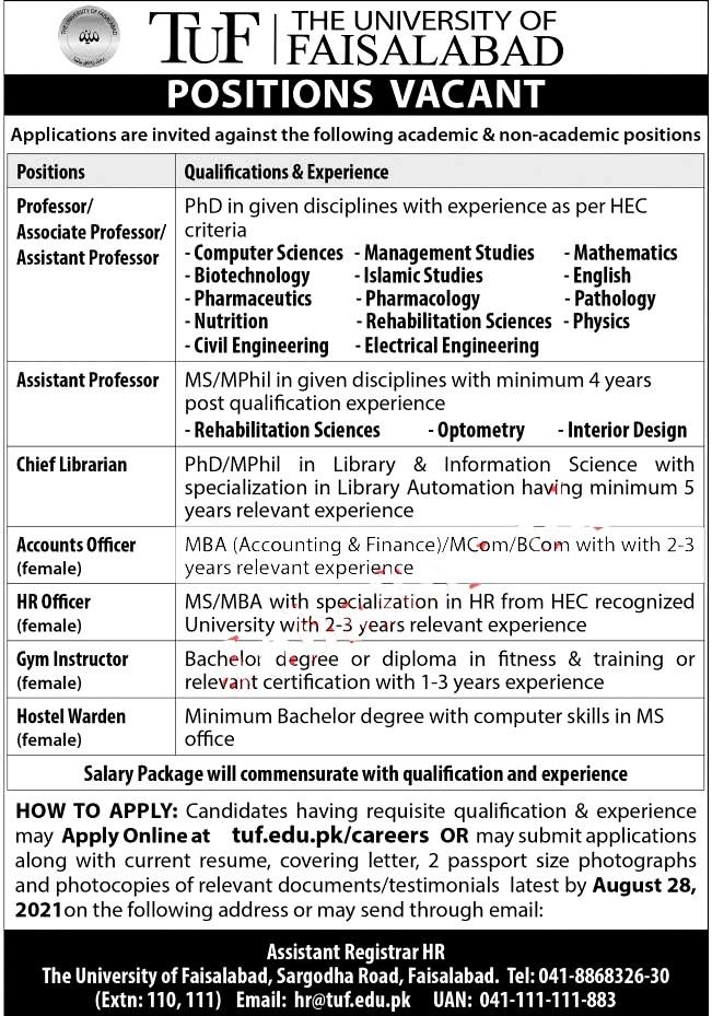 Latest Jobs in The University of Faisalabad TUF 2021