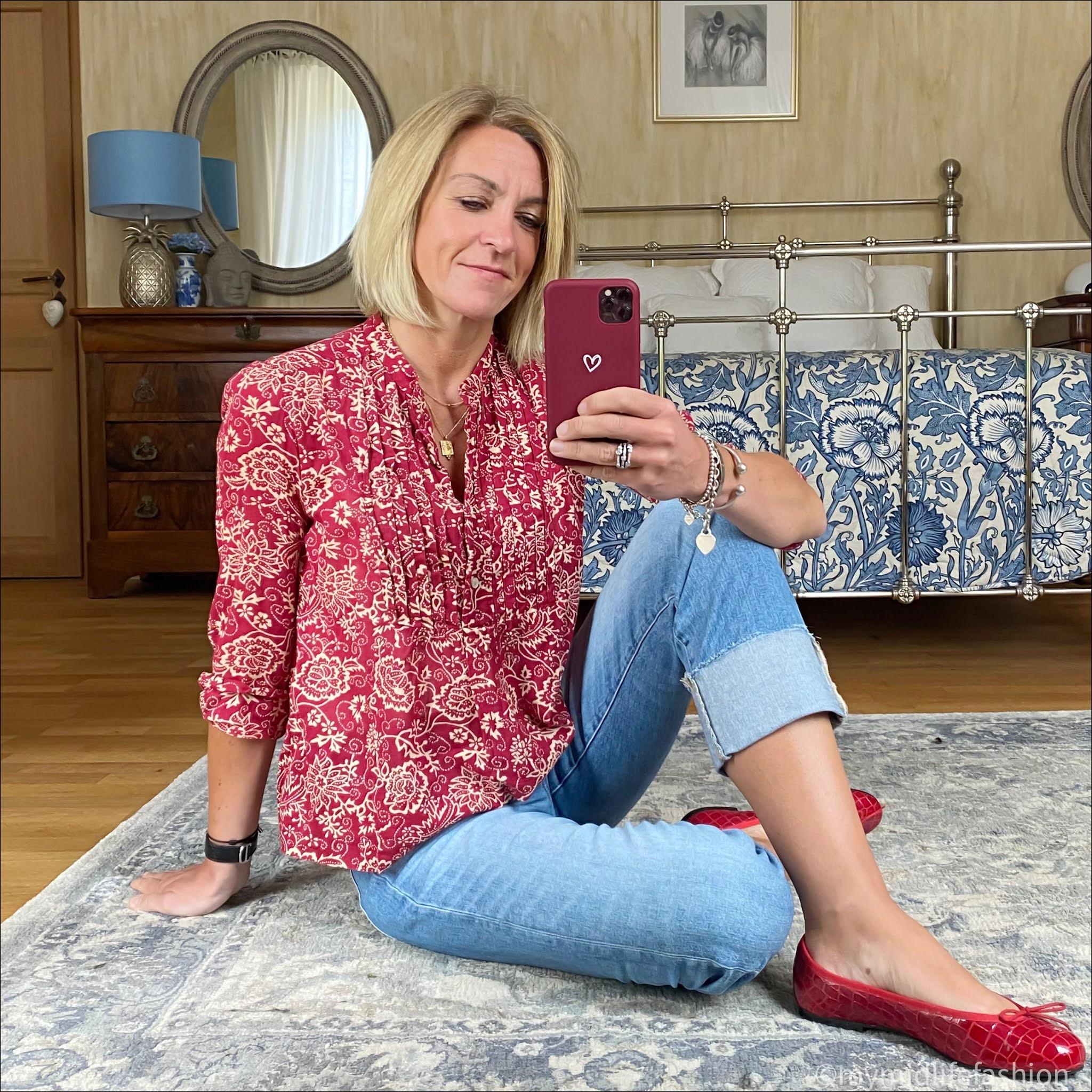 my midlife fashion, Isabel Marant Etoile cotton floral blouse, j crew turn up boyfriend jeans, French sole Henrietta patent ballet pumps