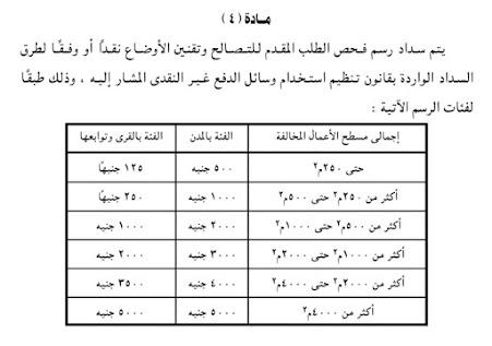 رسم فحص الطلب لملف التصالح مخالفات البناء