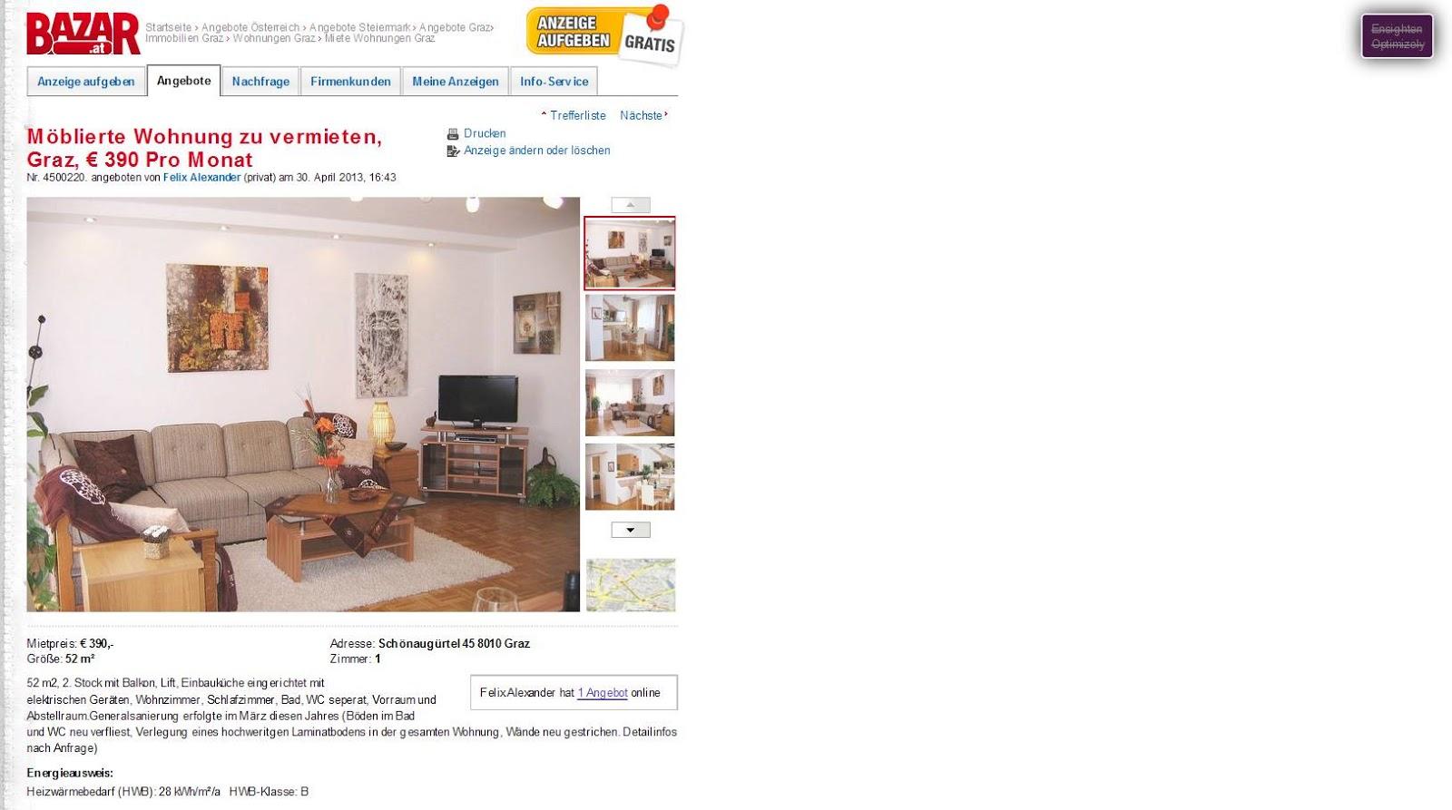 wohnungsbetrugblogspotcom jasminelukehotmailcom Mblierte Wohnung zu vermieten Graz