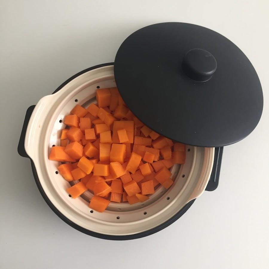 Calabaza al vapor en microondas