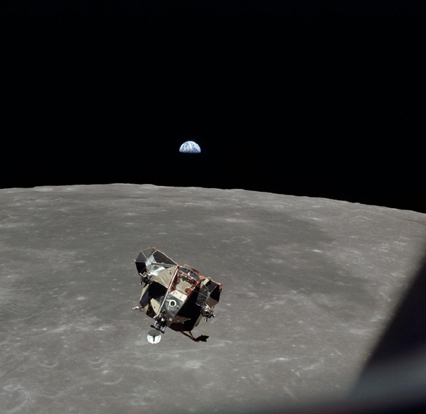 A snapshot of the Eagle lunar module's ascent stage--with fellow Apollo 11 astronauts Neil Armstrong and Buzz Aldrin onboard--taken by Michael Collins in the Columbia command module as he was about to reunite with his crew members in lunar orbit...on July 21, 1969.