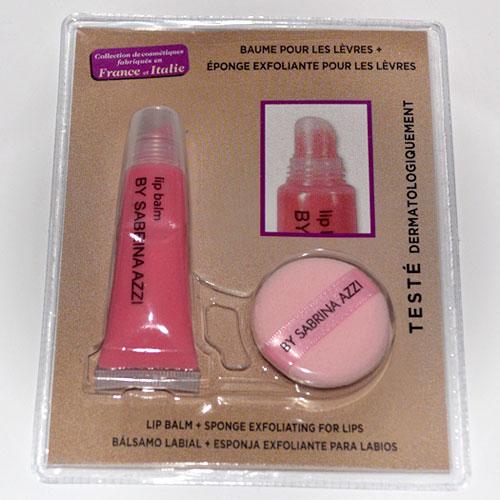 Brillo labial y esponja exfoliante by sabrina azzi colección makeup