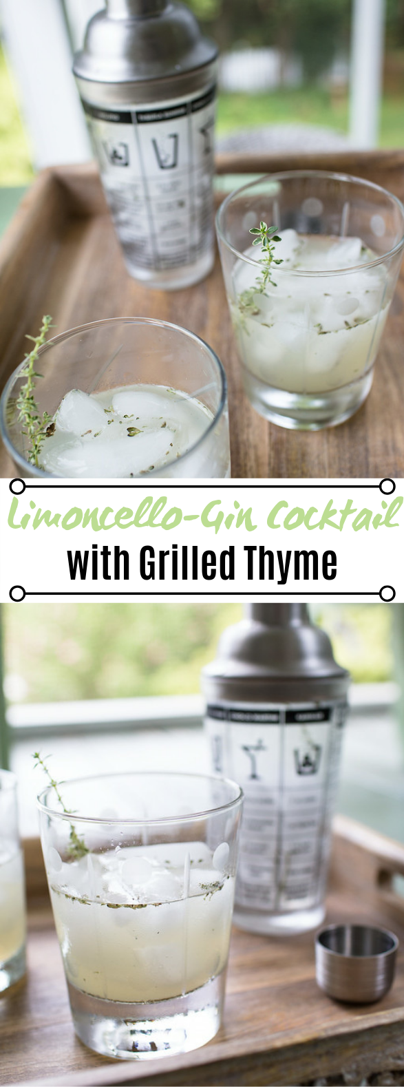 Limoncello-Gin Cocktail with Grilled Thyme #drinks #cocktails