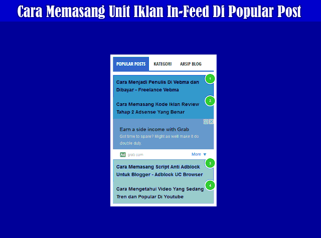 Cara Memasang Unit Iklan Adsense In-Feed Di Antara Widget Popular Post