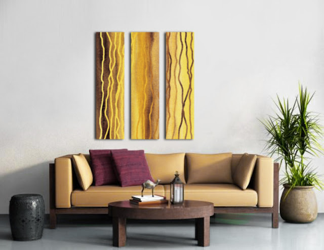 beige lines painting triptych in interior decor