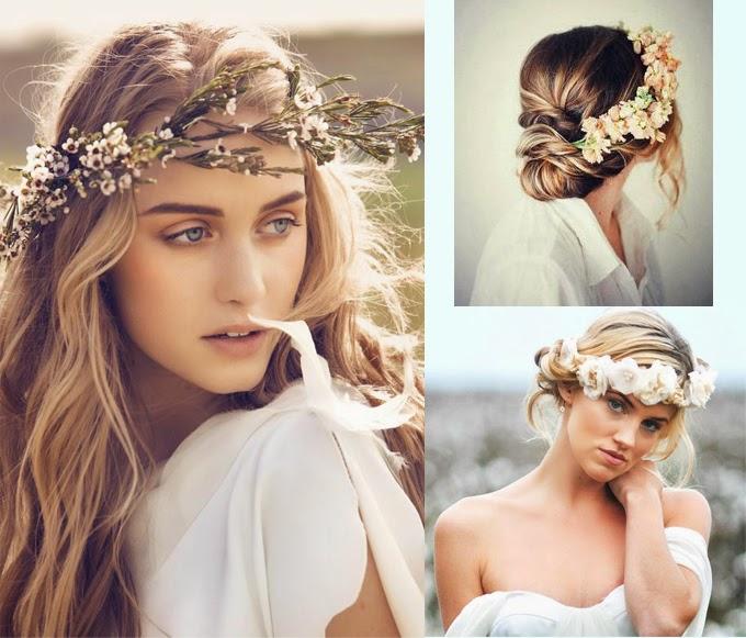 Natasha Wedding Essentials Vintage Bridal Hair Looks: Natasha Wedding Essentials: Flower Wreath For Boho Brides