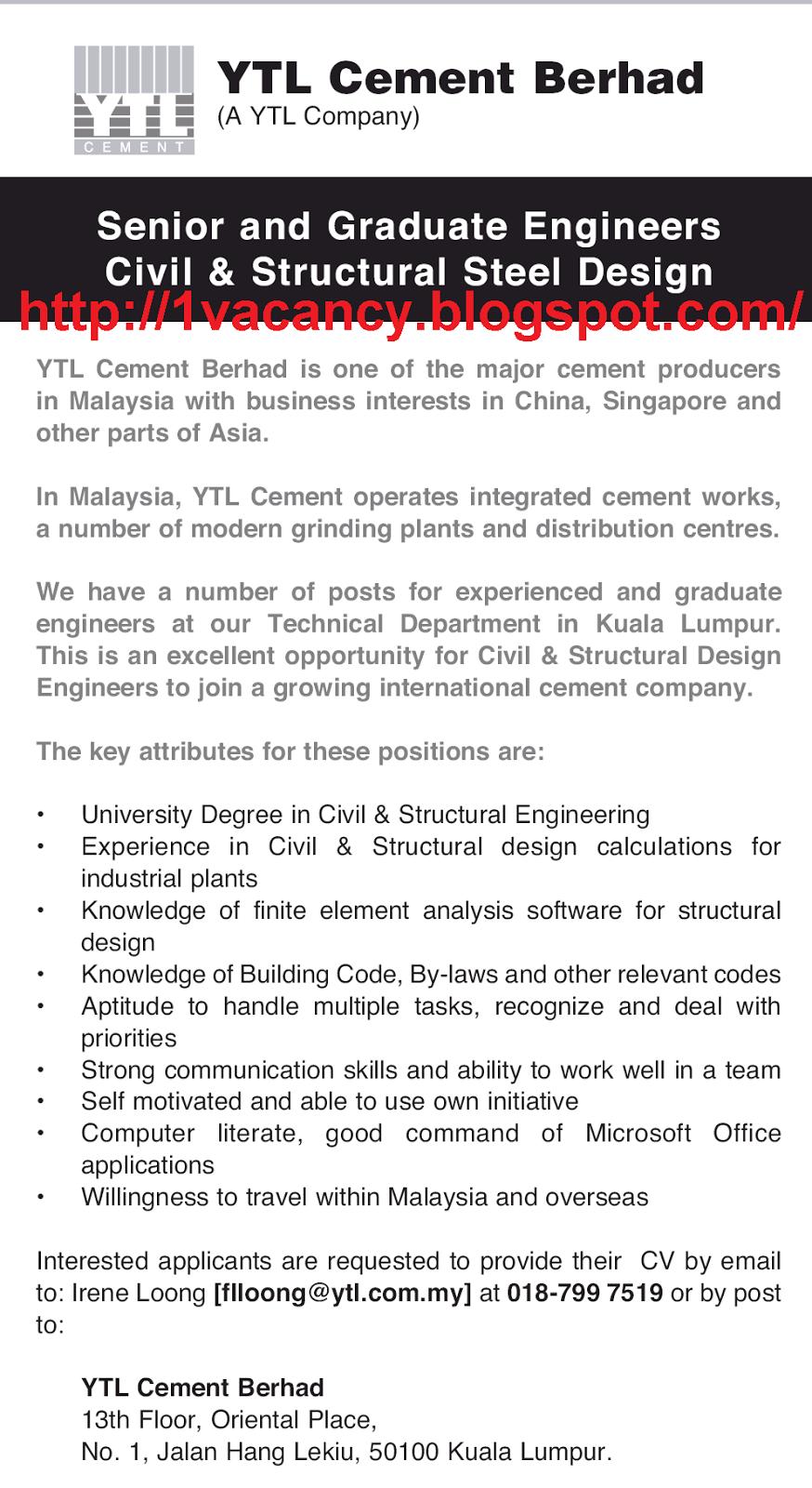 Ytl cement job vacancy