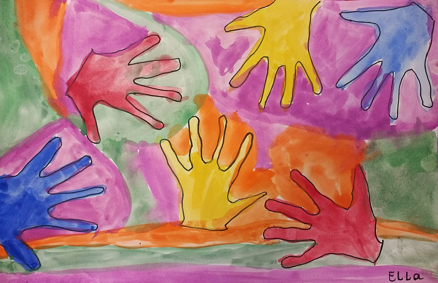 Kindergartners Have Recently Been Testing Their Knowledge Of Primary And Secondary Colors While Also Working On Basic Tracing Painting Skills With This