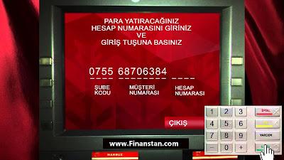 ATM'den para gönderme işlemi