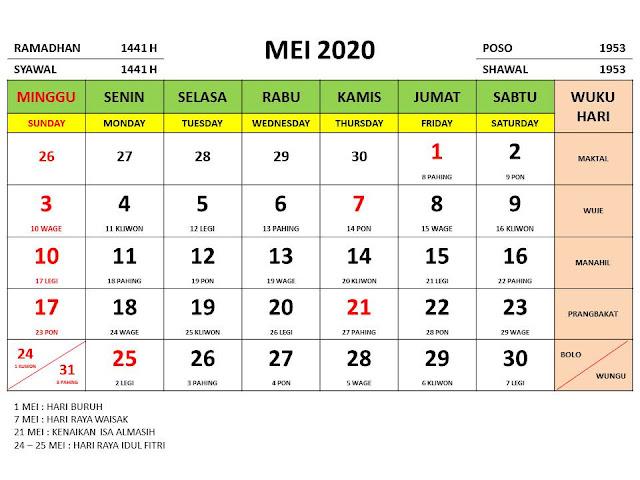 Kalender 2020 Jawa Bulan Mei