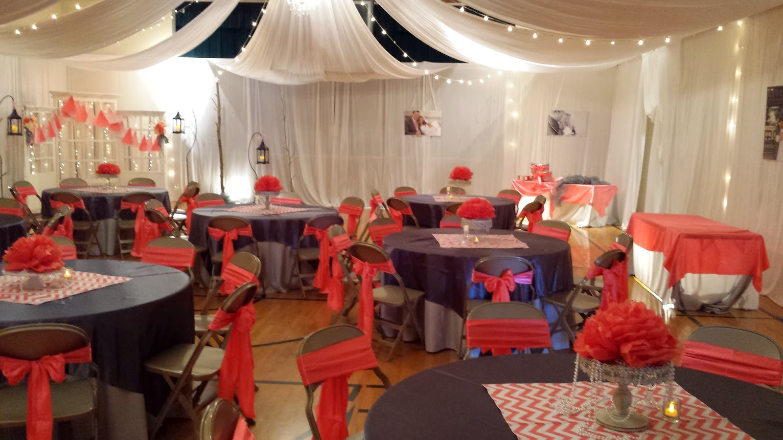 UWeddings Coral and Grey Vintage Wedding Reception