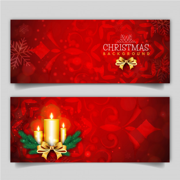 Elegant Merry Christmas Banner with Lighting Effect Free Vector