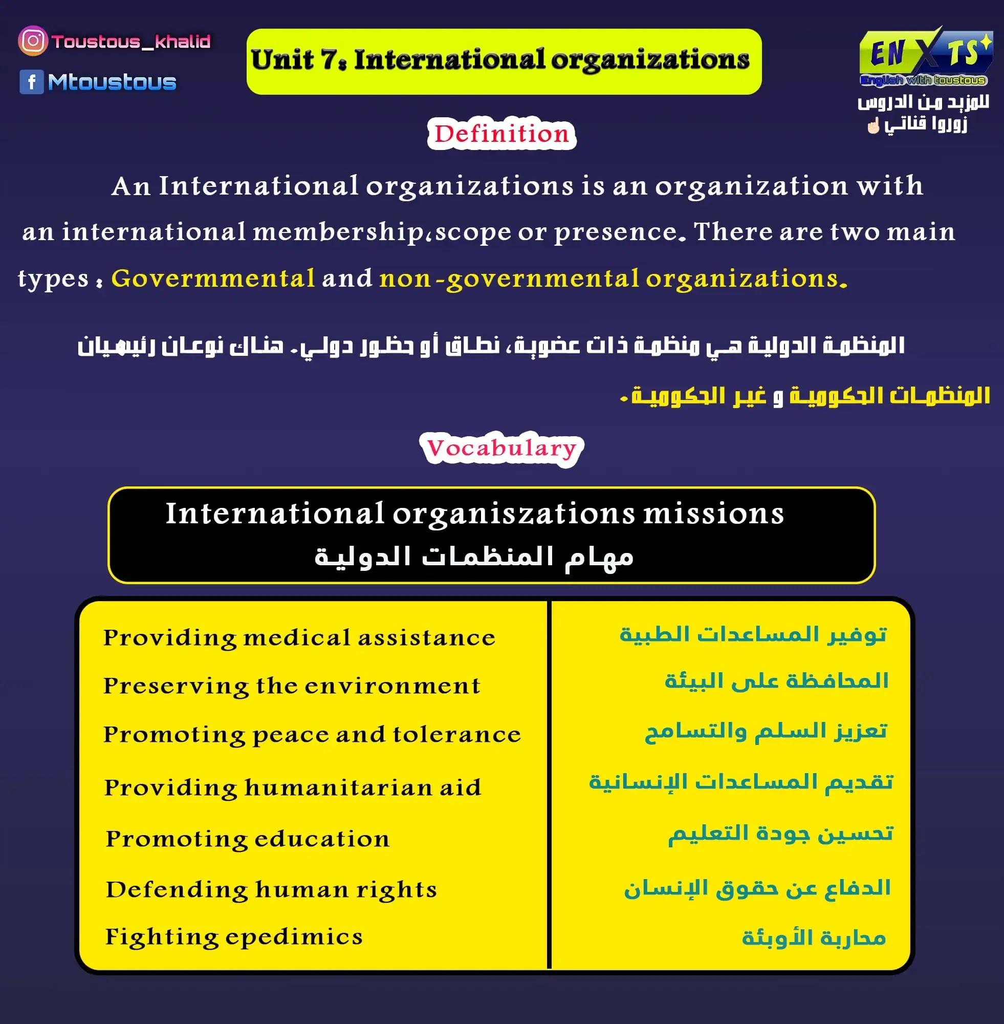 unit 7: International organization