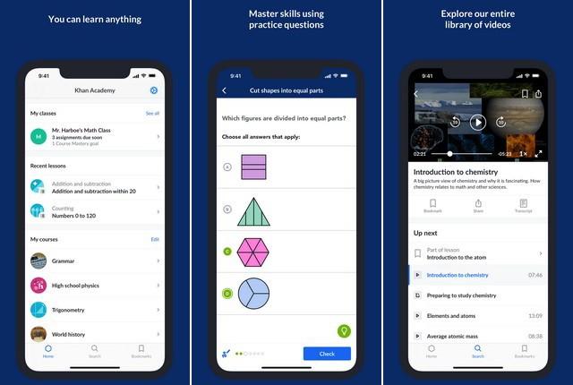 Khan-Academy-for-iPhone - تطبيقات التعليم عن بعد