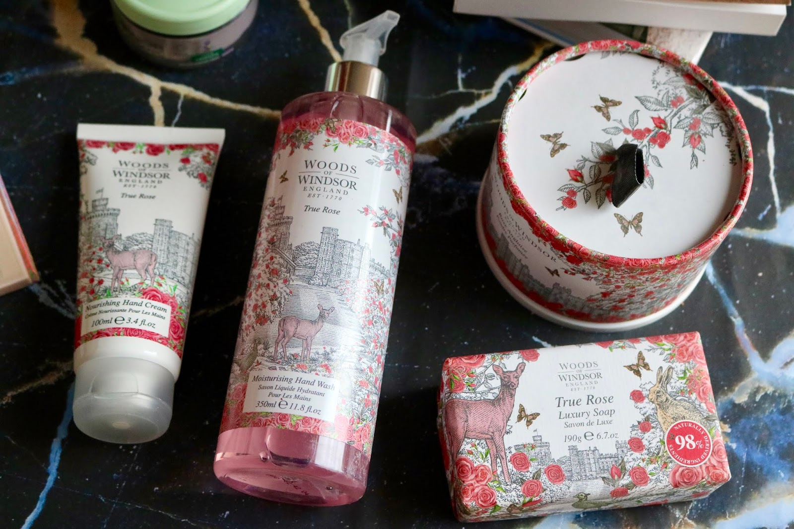 WOODS OF WINDSOR TRUE ROSE HAND WASH £4.66, SOAP £3.33, HAND CREAM £6.66 AND DUSTING POWDER
