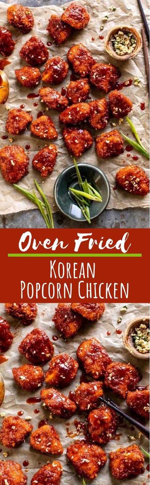 Oven Fried Korean Popcorn Chicken #chicken #appetizers