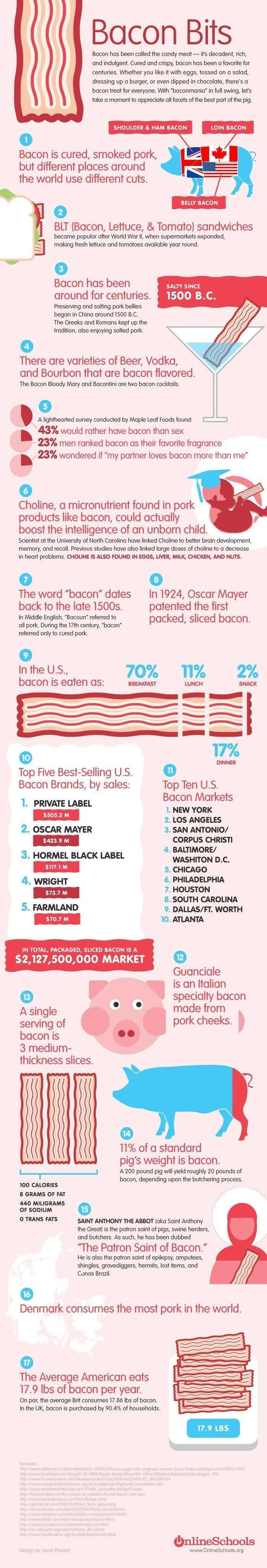 Facts About Bacon Bits #infographic
