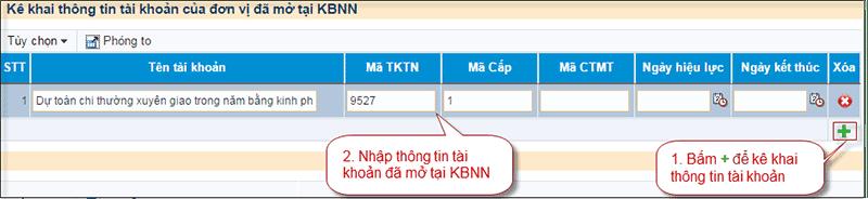 Hình 7. Kê khai thông tin tài khoản của đơn vị mở tại KBNN