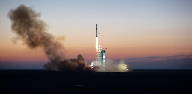 "A Long March 2-D rocket carrying the Dark Matter Particle Explorer Satellite blasts off at the Jiuquan Satellite Launch Center in Jiuquan, northwest China's Gansu Province, Dec. 17, 2015. The satellite, nicknamed ""Wukong"" after the Monkey King with penetrating eyes in the Chinese classical fiction ""Pilgrimage to the West"", is the country's first space telescope in a fresh search for smoking-gun signals of dark matter, invisible material that scientists say makes up most of the universe's mass. (Xinhua/Jin Liwang)"